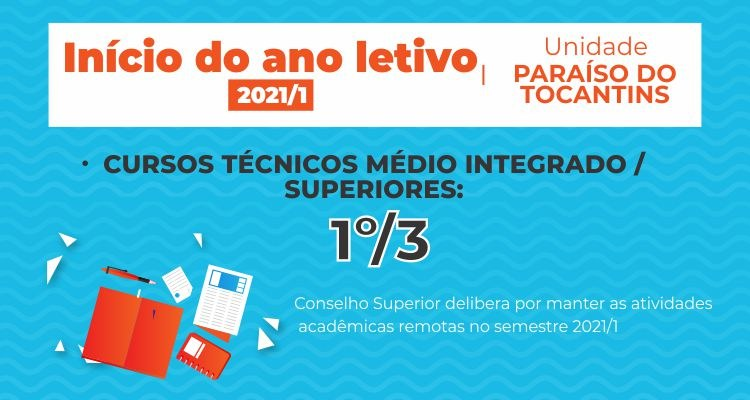 Aulas 2021 - unidade Paraíso do Tocantins
