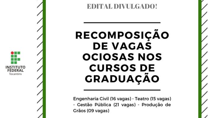 IFTO abre inscrições para vagas ociosas nos cursos de graduação em Gurupi