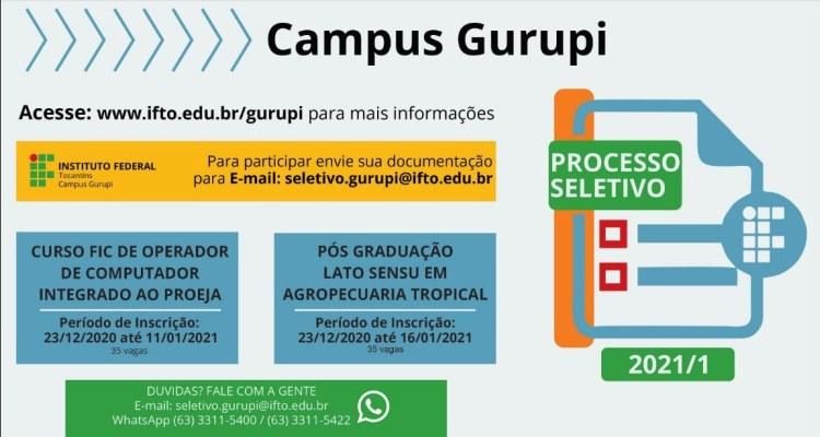 IFTO inscreve para cursos de Agropecuária Tropical e Operador de Computador em Gurupi