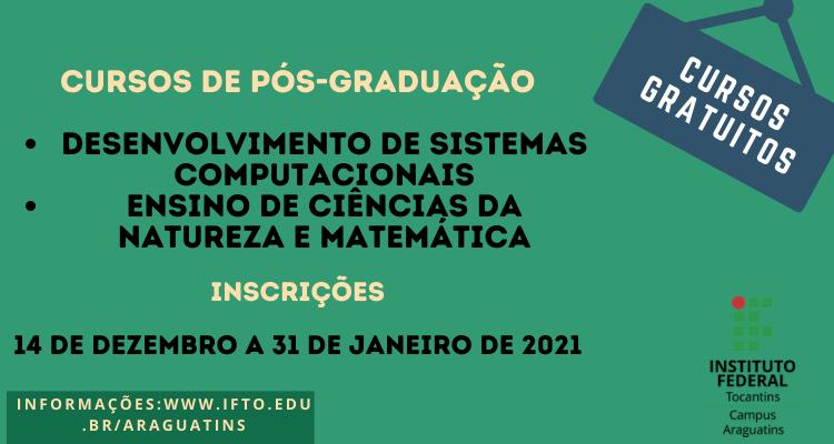 IFTO oferece 50 vagas para cursos gratuitos de pós-graduação