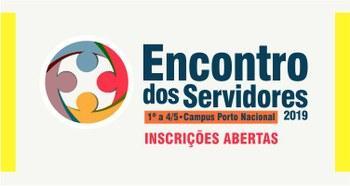 Banner com o texto Encontro dos Servidores 2019 e a logo do encontro