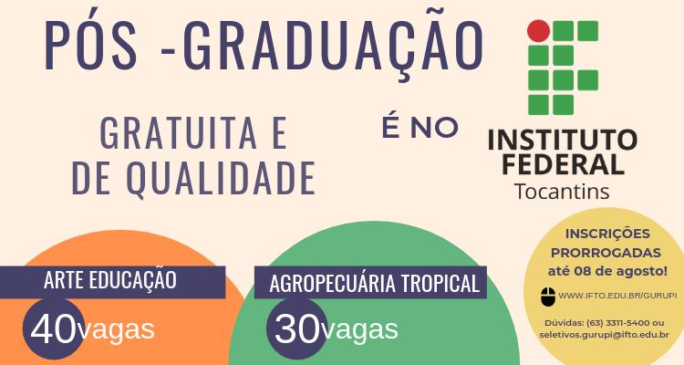 IFTO prorroga inscrições para especializações em Gurupi
