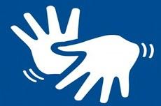 Pra cego ver: ícones com o formato de duas mãos em movimento que simbolizam a Língua Brasileira de Sinais