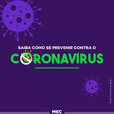 Pra cego ver: ícone representativo de um vírus ao fundo e escrito à frente a frase Saiba como se previnir contra o Coronovírus. Fim da Descrição.