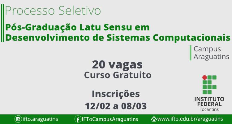 Unidade de Araguatins terá pós-graduação gratuita com 20 vagas