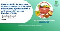 Educação básica: Manifestação de interesse em kit lanche entre os dias 23 e 25 de março