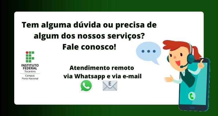 Campus Porto Nacional divulga contatos atualizados de whatsapp e e-mails